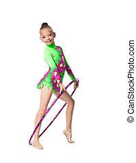 Young girl show gymnastics dance with hoop