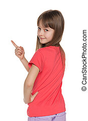 Young girl shows her finger to the side left