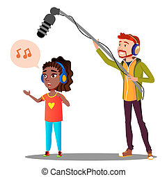 Young Girl Singer Recording A Song In The Studio Vector. Isolated Illustration