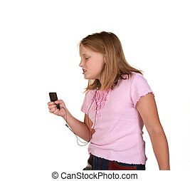 young girl singing dancing with mp3