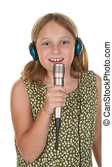 young girl singing isolated on white