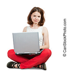 girl sitting with laptop