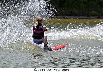 Young Girl Slalom Ski