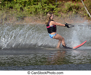 Young Girl Slalom Skier