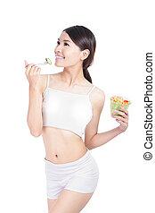 Young Girl Smile eating salad