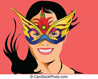 Young girl smiling with mask