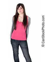 Young girl standing isolated on white background