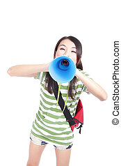 Young girl student yelling to you through megaphone