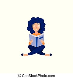 Young girl studying with reading book - female character ...