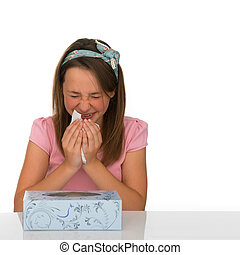 Young girl suffering from a cold or hayfever