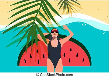 Young girl sunbath on the beach. Top view. Summer vacation, beach party concept, vector illustration.