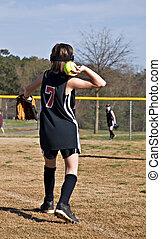 Young Girl Throwing Softball