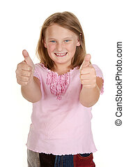 young girl thumbs up