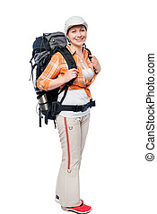 young girl tourist with a big backpack in full length on white background