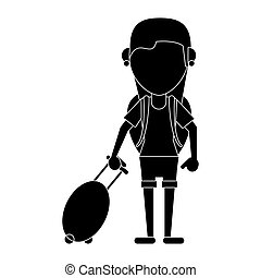 young girl tourist with backpack and suitcase pictogram