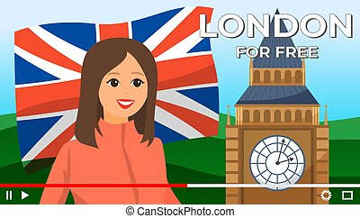 Young girl traveler give advices about free places in London...