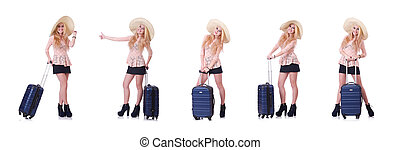 Young girl traveller isolated on white