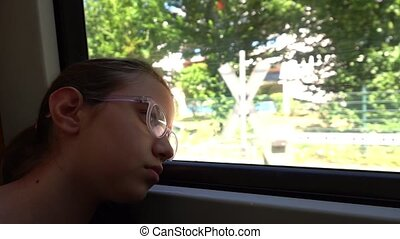 Young Girl Travelling in Train near the Window