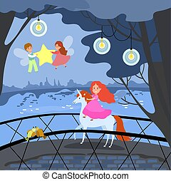 Young girl unicorn ride, fantasy place female male fairy fly around princess and hold star evening compositions flat vector illustration.