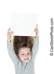 Young girl upside down isolated in white