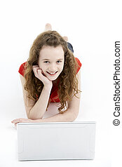Young Girl Using Laptop Computer