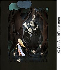Young girl walking in the dark forest, two trolls or forest spirits watching her. Changeling folklore fairy tale vector illustration.