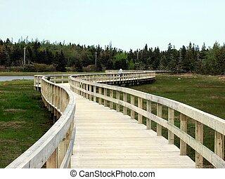 girl walking on boardwalk - young girl walking on boardwalk...