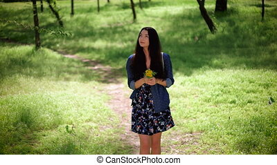 Young girl walking on nature