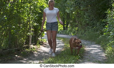 Young girl walks with her american staffordshire terrier dog