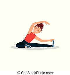 Young girl warming up before training. Woman doing exercise sitting on floor. Colorful flat vector design