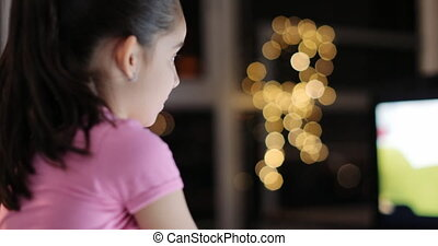 Young Girl Watching TV Alone Without Parent Control - Young...