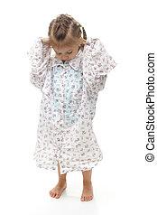 Young Girl Wearing Oversized Shirt - Young girl wearing big...