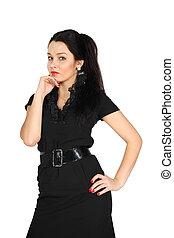 Young girl wearing short black dress