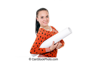 Young girl with a big roll of paper