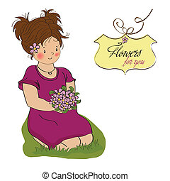young girl with a bouquet of flowers.birthday greeting card