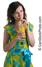 Young girl with a cocktail glass