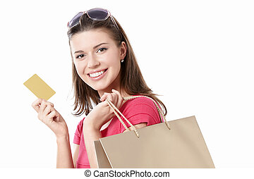 Young girl with a credit card