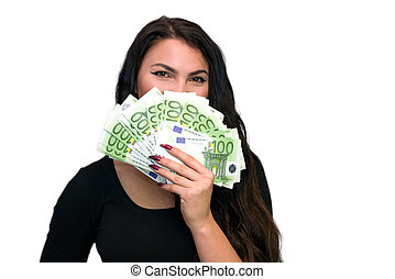 Young girl with a lot of money