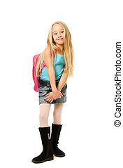 Young girl with a pink backpack