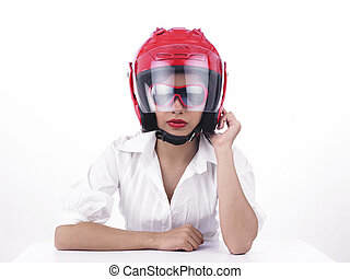 girl with a red helmet
