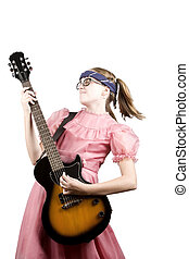Young Girl with a Rock Guitar