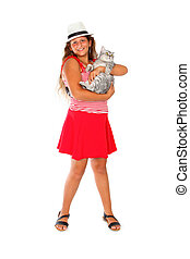 girl with a scottish cat