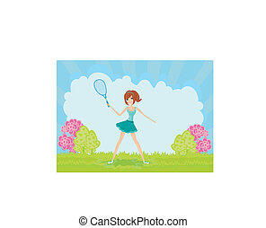 Young girl with a tennis racket
