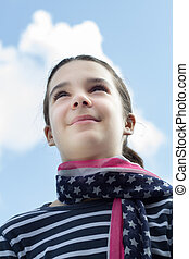 young girl with American flag scarf