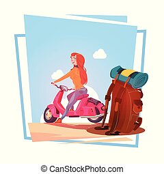 Young Girl With Backpack Travel On Electric Scooter Woman Tourist Riding Vintage Motorcycle Over Blue Sky Landscape
