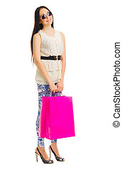 Young girl with bags