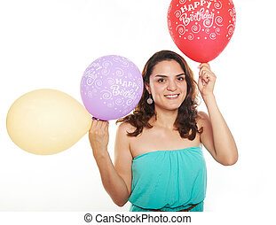 young girl with balloons