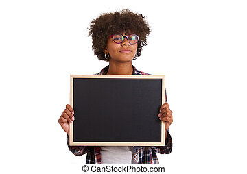 young girl with blackboard isolated on white