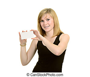 Young girl with brackets hold white blank paper isolated on white background