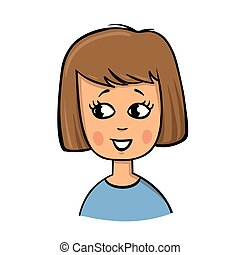 Young girl with brown hair, cartoon icon.